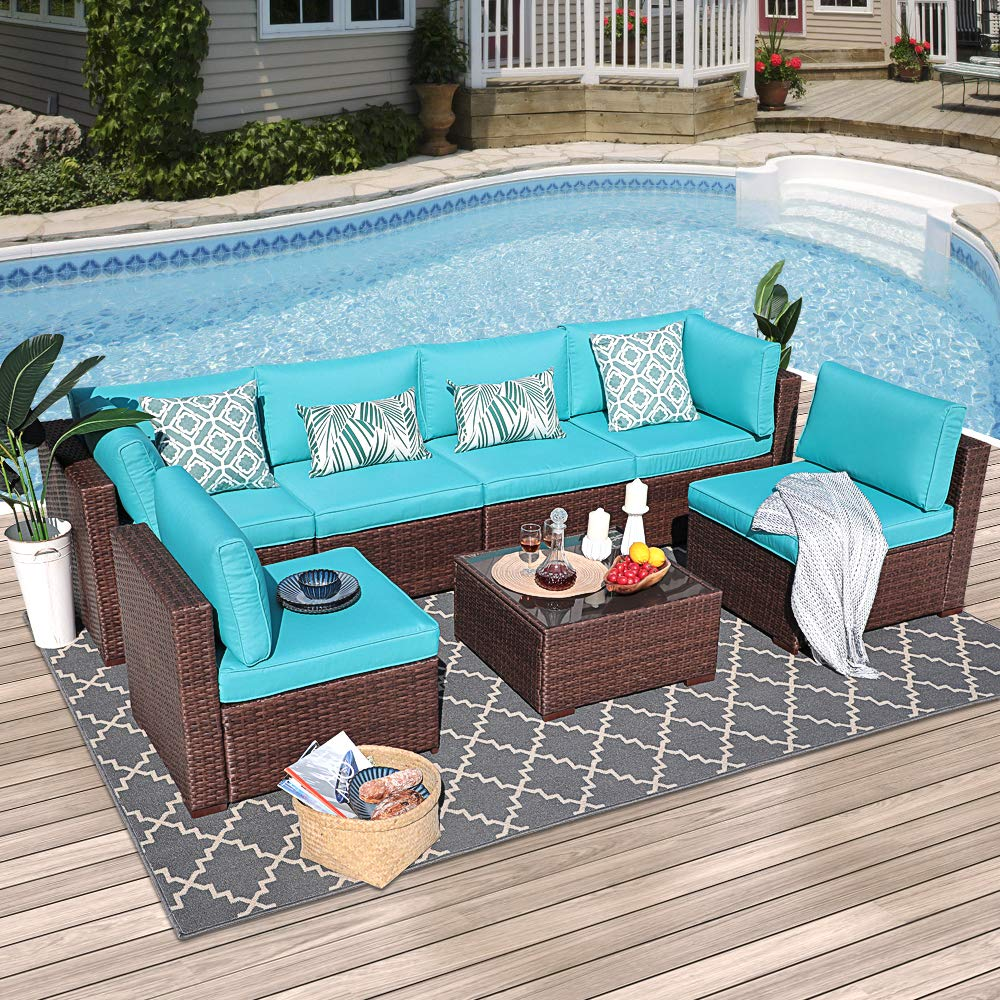 Outdoor Sectional Sofa 7-Piece Wicker Furniture Set with Turquoise Seat Cushions, Glass Coffee Table Single Sofa Chair