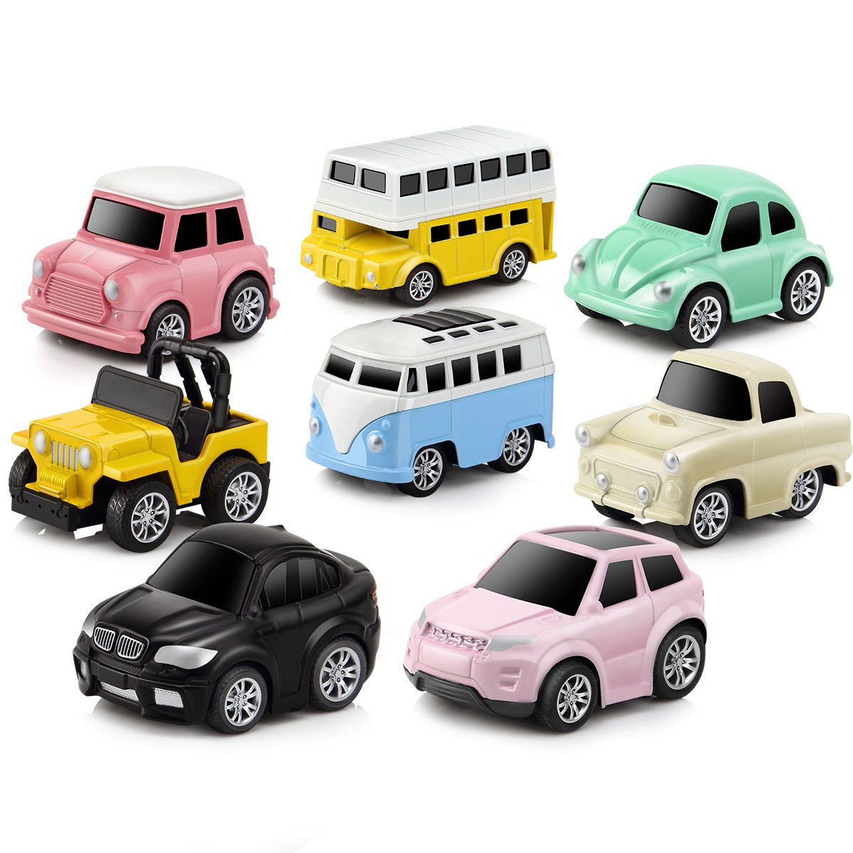 GEYIIE Pull Back Cars Alloy Vehicles Set Mini Car Model Construction and Raced Trucks for Toddlers Gift 8 PCS