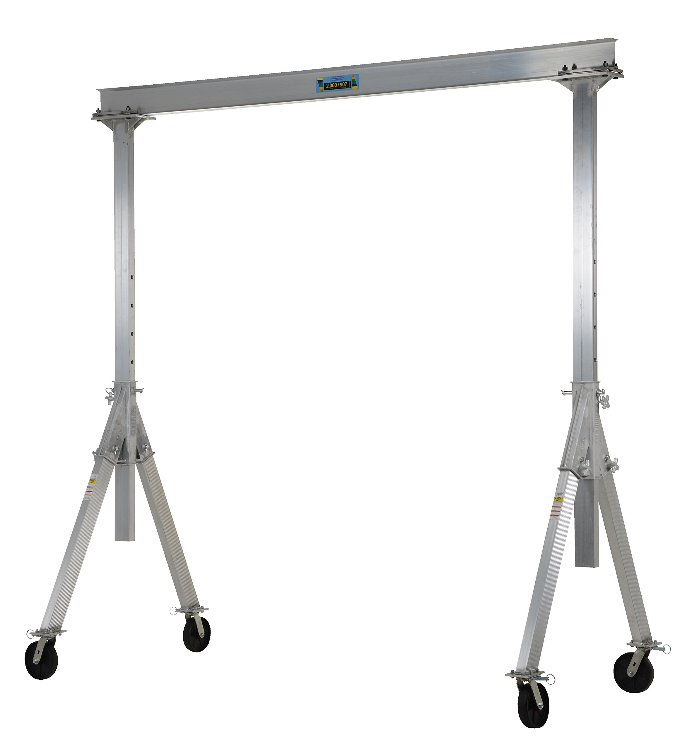 Vestil AHA-2-8-10 Aluminum Adjustable Gantry Crane, 2000 lb. Capacity, 8' Overall Beam, 96'' Usable Trolley Travel Distance, Under I-Beam Range 92''-120'', 128'' Height by Vestil