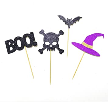 48pcs Sparkly Halloween Cupcake Toppers Picks Bat Boo Pumpkin Hat