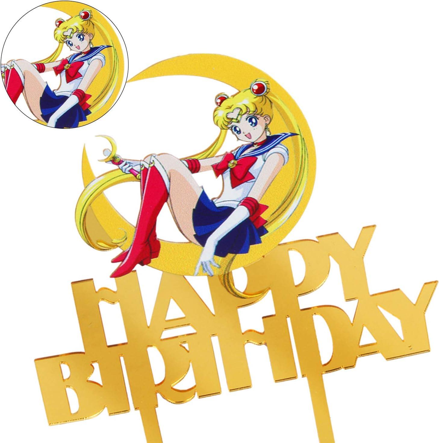 LILIPARTY Cartoon Acrylic Sailor Moon Happy Birthday Cake Topper Pretty Guardian Theme Birthday Party Decoration Suppliers Girls Birthday Favors
