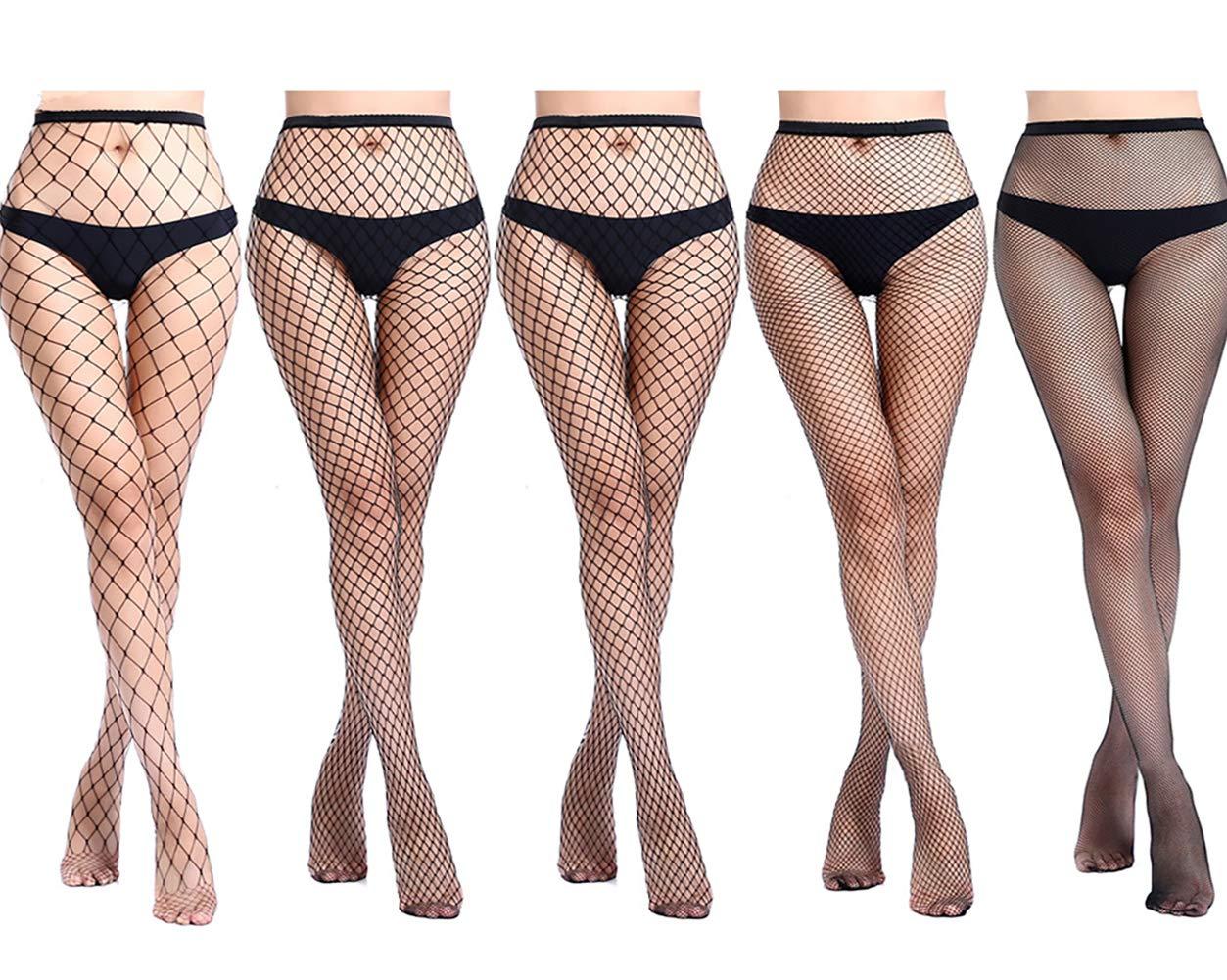 Amandir 4-5 Pairs Fishnet Stockings Womens Lace Mesh Patterned Fishnet Leggings Tights Net Pantyhose