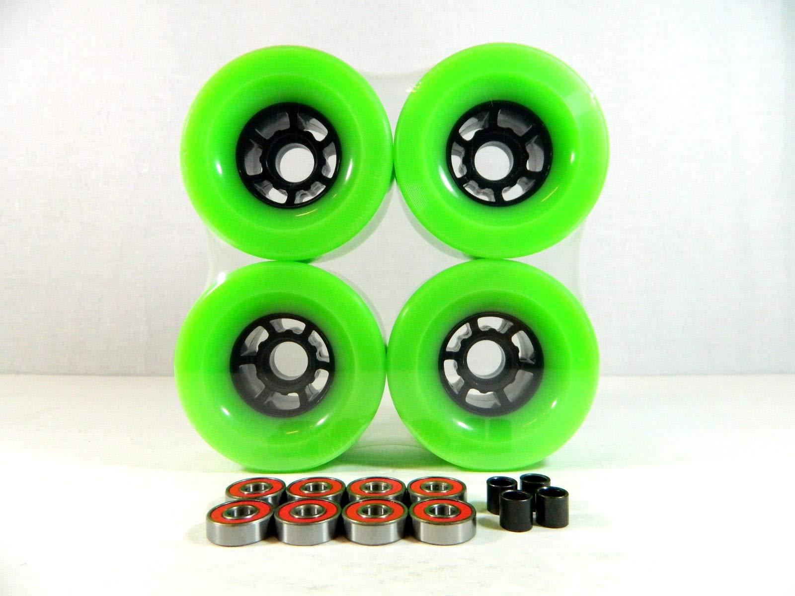 Green Blank Pro 90Mm Multiple Color Longboard Flywheels + ABEC 7 Bearings + Spacers