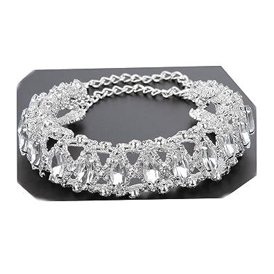 2eb8257a2e Amazon.com: Becoler Stylish Full Diamond Crystal Rhinestone Choker Collar  Necklace Jewelry: Jewelry