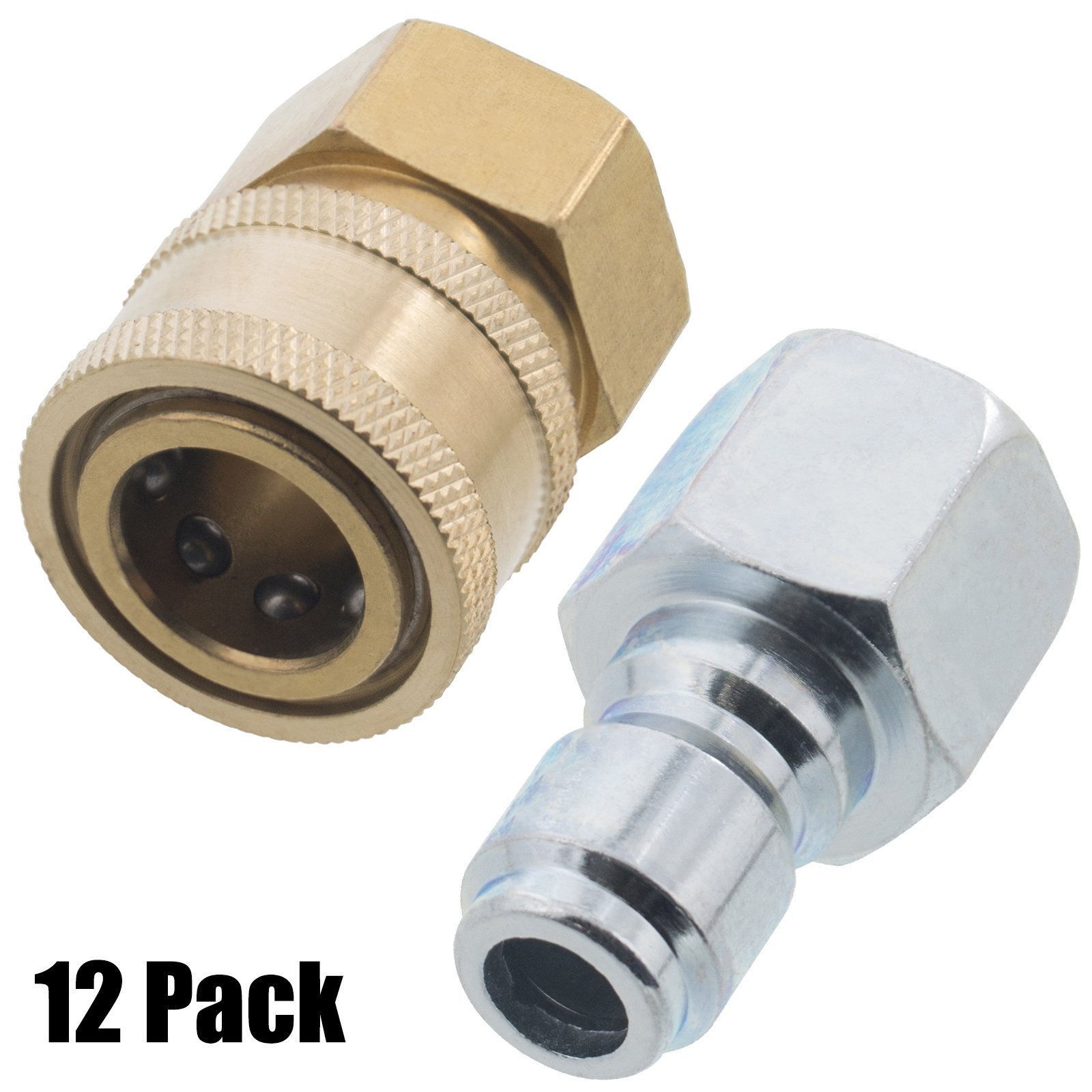 Erie Tools 12 Pressure Washer 3/8in. Female NPT Quick Connect Brass Socket Set and Plug High Temp 4000 PSI 10.5 GPM by Erie Tools