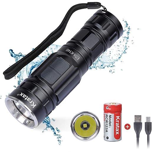 Kratax Linterna LED Flashlight de Mano 600LM Linterna Portátil de 5 Modos, USB Interior y Batería Incluida para Ciclismo, Camping, Montañismo etc, ...