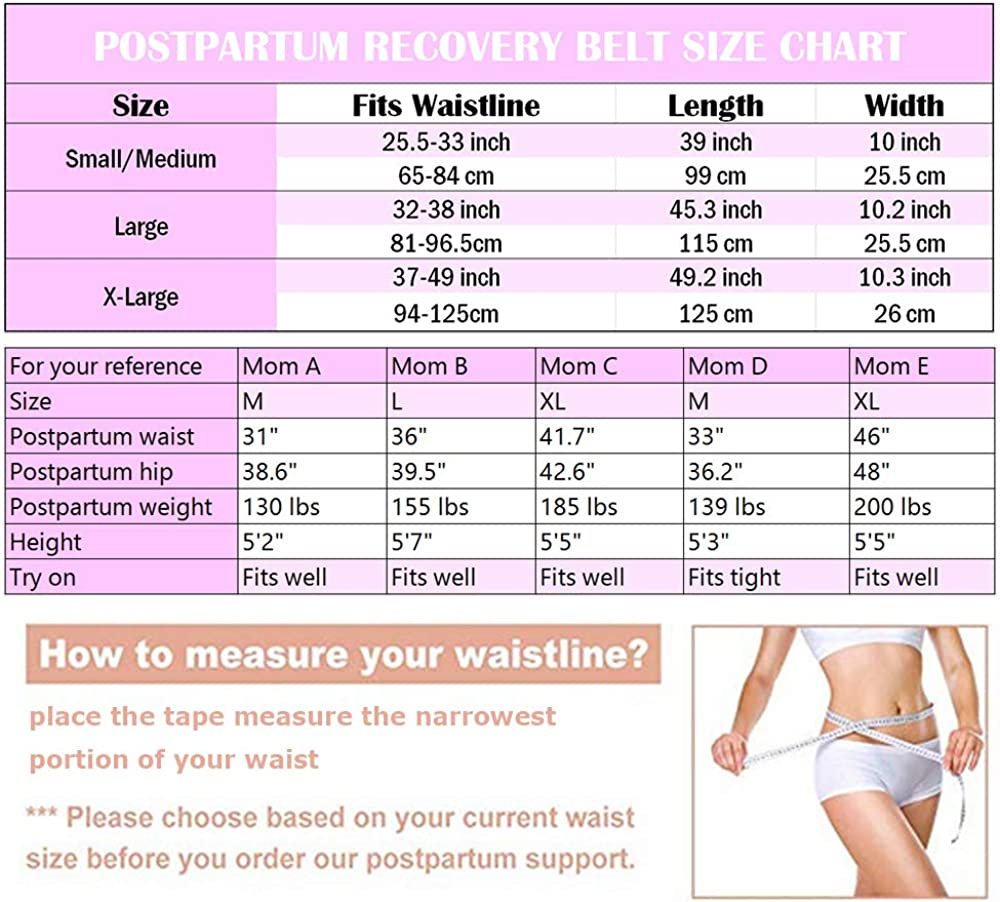 Moolida Postpartum Belly Wrap Support Recovery Belts Body Shaper C Section Girdle Shapewear Pink