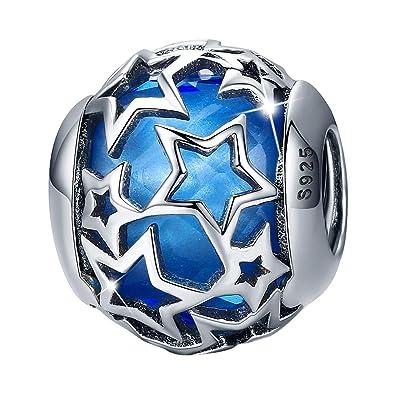 26e157e06fe02 Amazon.com: FOREVER QUEEN Starry Night Bead 925 Sterling Silver ...