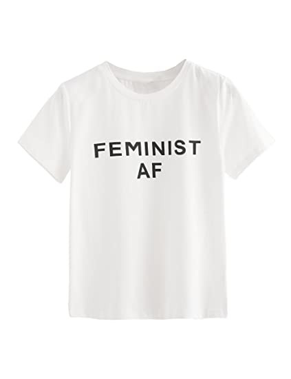 92642fd55 SweatyRocks Women's Women's Cute Graphic T Shirts Funny Tops Short Sleeve  Tees White #1 XS