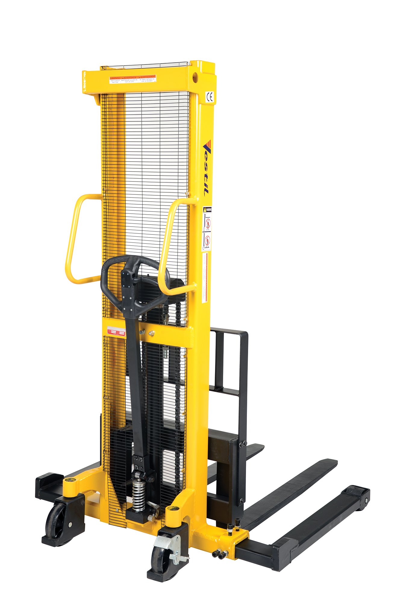 Vestil VHPS-2000-AA Manual Hydraulic Hand Pump Steel Stacker with Adjustable Forks, 2000 lb. Capacity, 60-1/4'' Length x 52'' Width x 81'' Height, Yellow