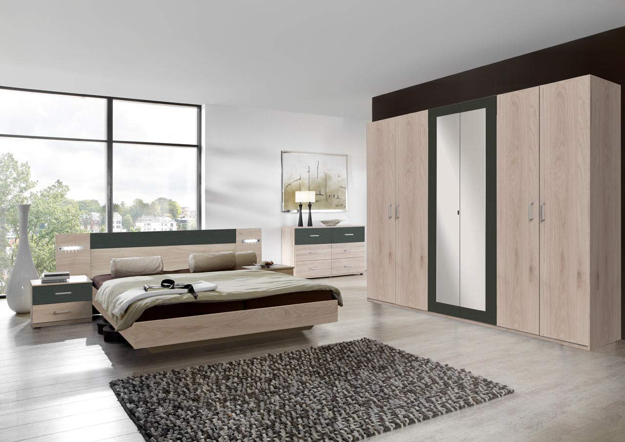 lifestyle4living Schlafzimmer Komplett Set in Eiche-Dekor und grau, 4-teilig   Modernes Komplettset mit Drehtürenschrank, Bett und Nachtschränken