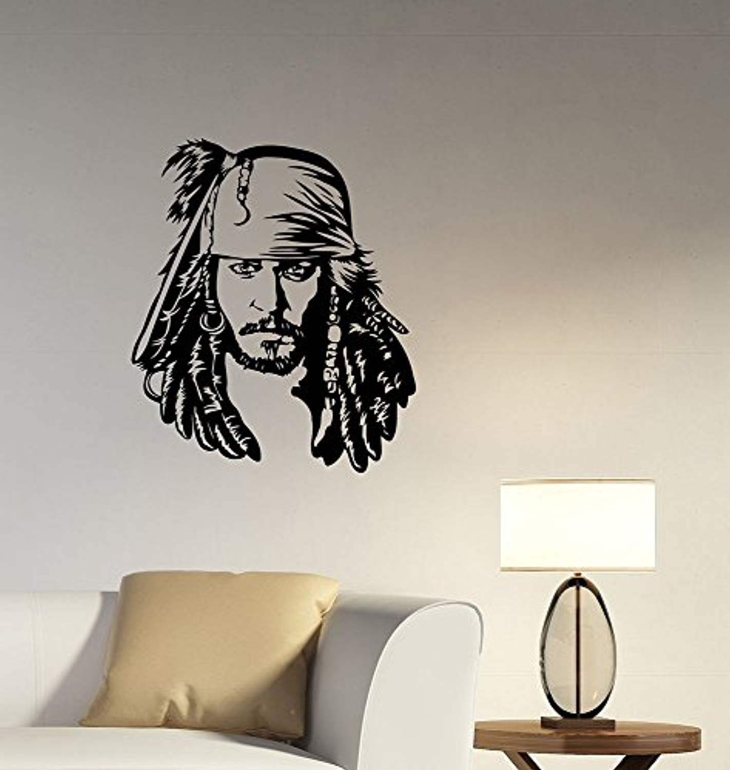 A Good Decals USA Captain Jack Sparrow Face Wall Decal Removable Vinyl Sticker Pirates of the Carribean Art Decorations for Home Room Bedroom Movie Decor cjs1