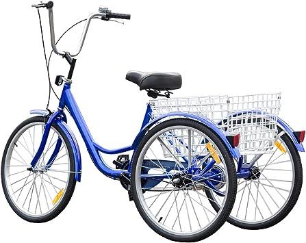 "3-Wheel 24/"" Bike Bicycle Tricycle Cruise Trike W// Basket Adjustable Seat Adult"