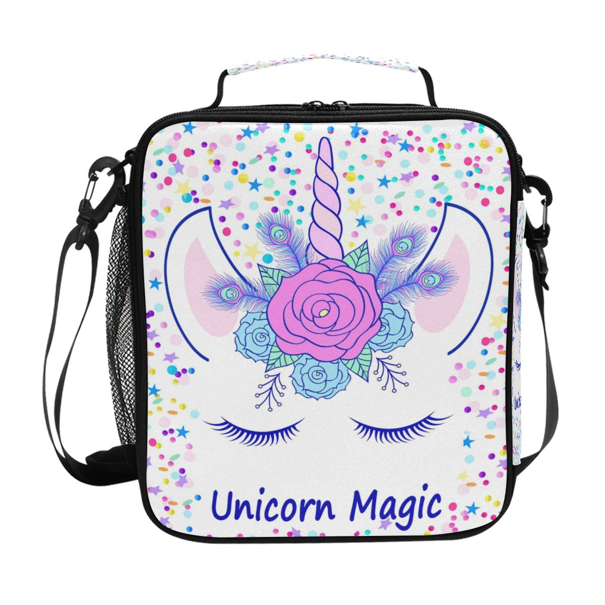 ZOEO Girls Unicorn Lunch Box Head Cream Magic Pink Floral Tiara Prep Kids Cooler Insulated Lunch Bag Tote Freezable Shoulder Strap Waterproof Picnic Meal for School Office
