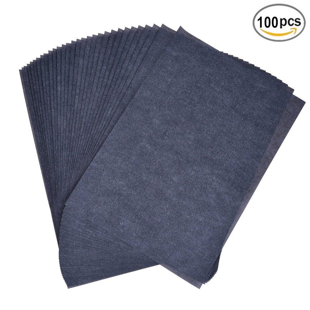 Carta Carbone, Stencil Paper 100 Fogli in Formato A4 Carta da Lucido per Legno, Carta da Ufficio, Tela, Metallo Verniciato, Superfici D'arte 8.5X11 [nero] BJ-SHOP