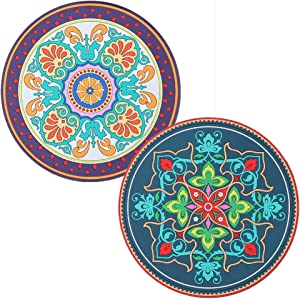 Silicone Hot Pot Pads for Kitchen 6.9 Inch Round Hot Trivets for Dining Table Hotpads for Cooking Potholders for Kitchens Silicone Art Mats Heat Resistant Pot Holders 2 pcs White and Green