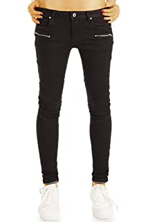 f4c2cac5ba58a3 bestyledberlin Damen Röhrenjeans, Biker Style Black Jeans, Super Skinny Fit  Jeanshosen j13g