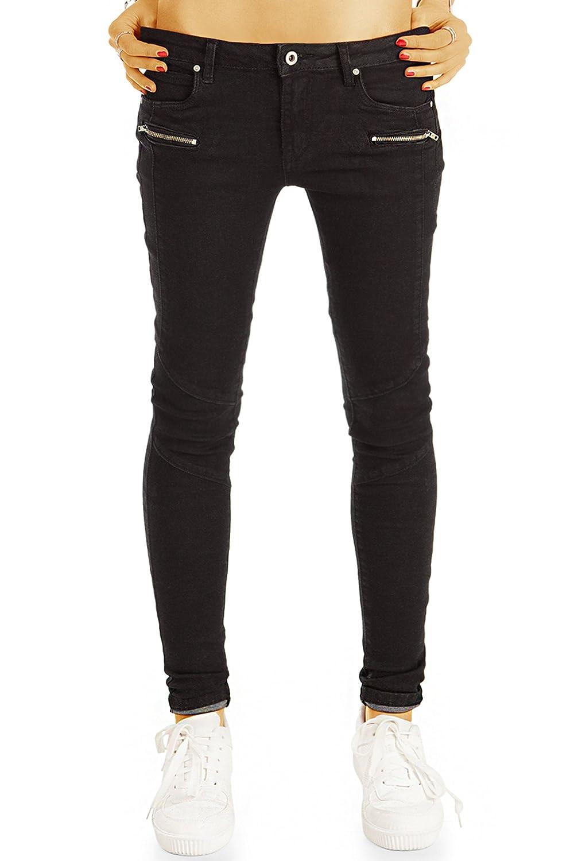 bestyledberlin Damen Röhrenjeans, Biker Style Black Jeans, Super Skinny Fit Jeanshosen j13g