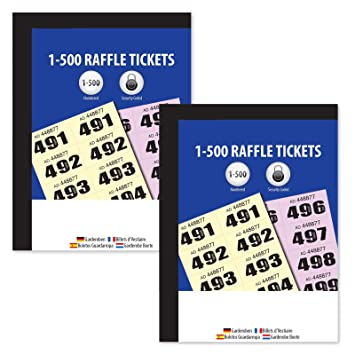 Raffle Cloakroom Number 1-500 Tickets Books Tombola Draw Easy Tear  Duplicate Stubs - Ideal For Prize Raffles, Fund Raising Games - Randomly  Sent