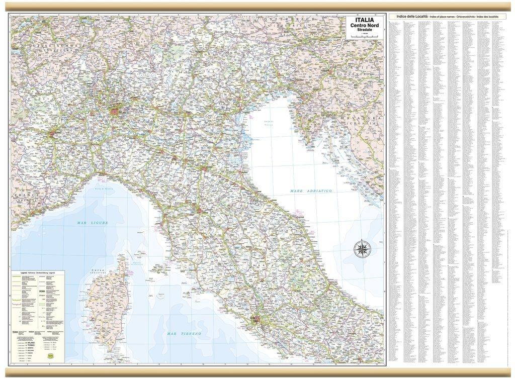 Italia Centro Nord Stradale Carta Murale Belletti 119x88 cm