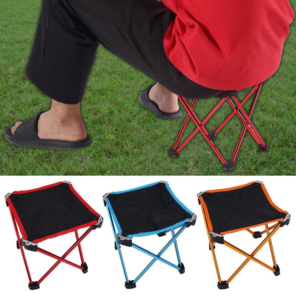 Tragbare Langlebige Leichte Campinghocker Tragbare Mini Stuhl mit Mesh Aufbewahrungstasche f/ür BBQ Fishing Garden Beach Dilwe Klapphocker