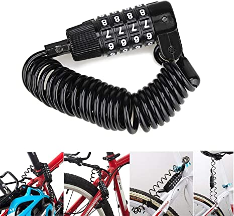 Cycling Security 4 Digit Combination Password Bike Bicycle Cable Chain Lock