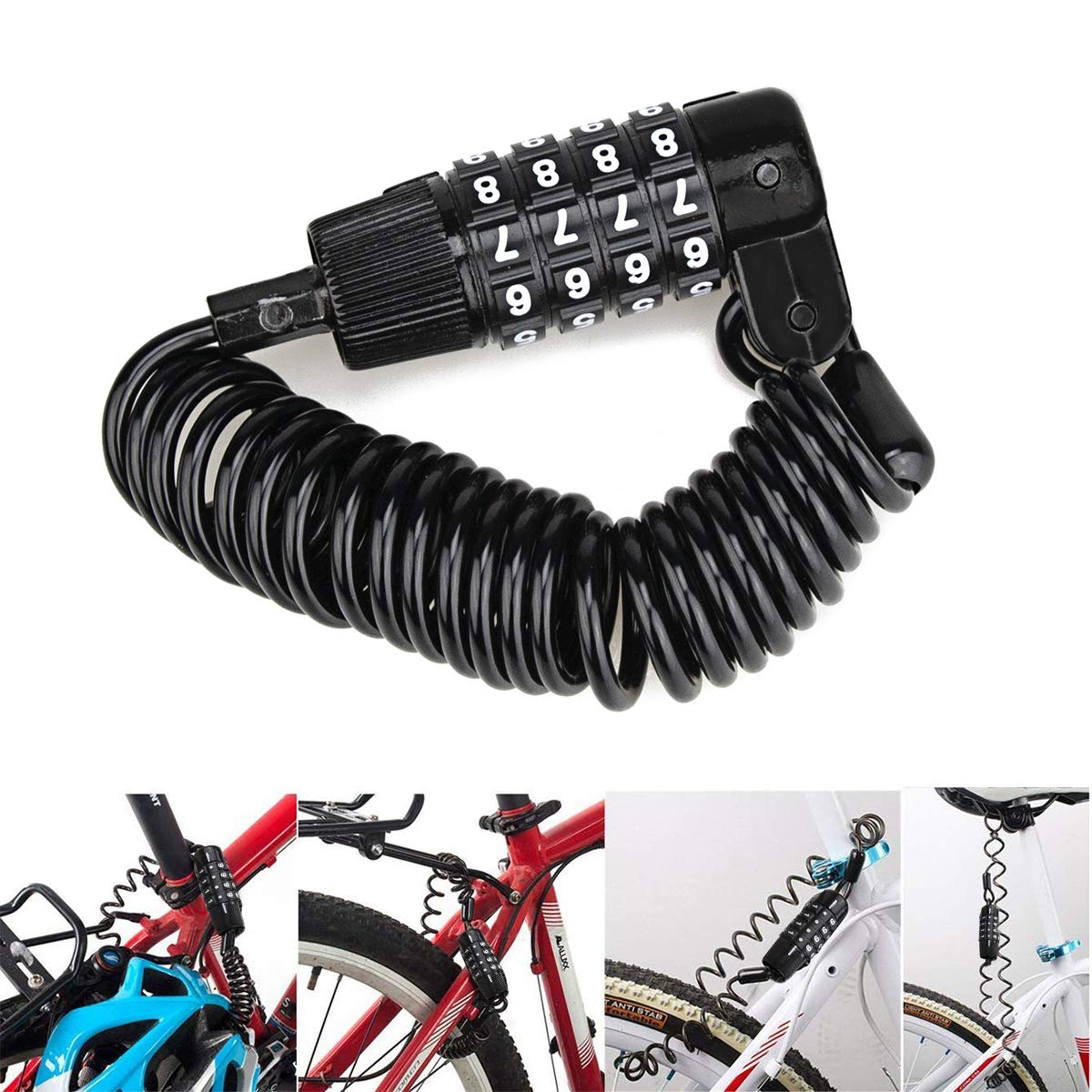 Allnice Bike Lock Cable Mini Portable Anti-Theft Resettable 4 Digit Bike Bicycle Cycling Spring Combination Cable Lock Senior Travel Luggage Locks Helmet Lock