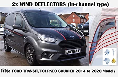 OEMM Set di 2 deflettori daria a canale Peugeot Partner II Van LV 2008 2009 2010 2011 2012 2013 2014 2015 2016 2017 2018 visiera laterali Deflettori finestra compatibili con Citroen Berlingo