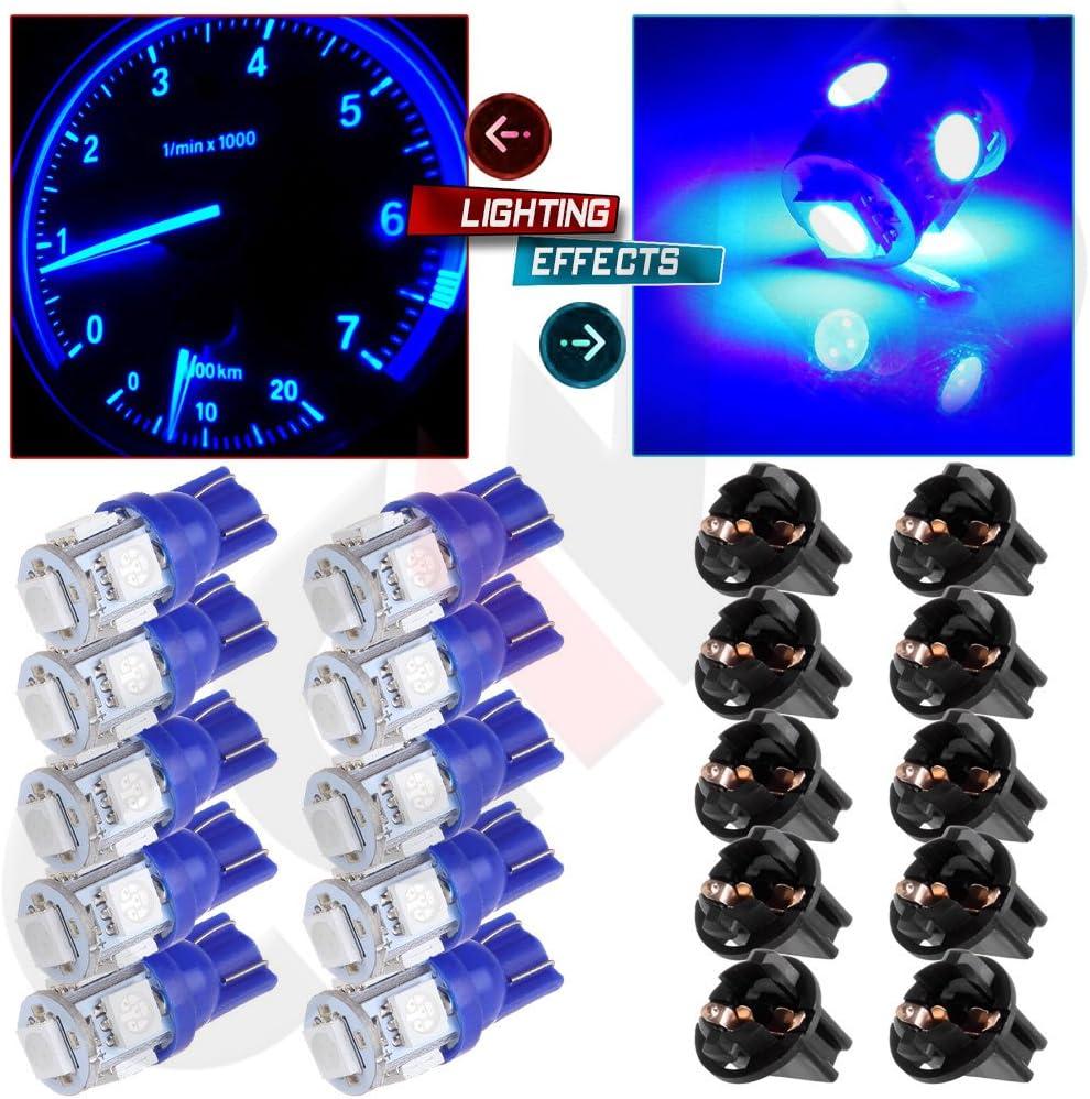 cciyu 10 Pack Blue T10 5-5050-SMD PC194 LED Bulb Instrument Panel Cluster Dash Light Twist Lock Socket Fit 2000-2002 Honda Accord