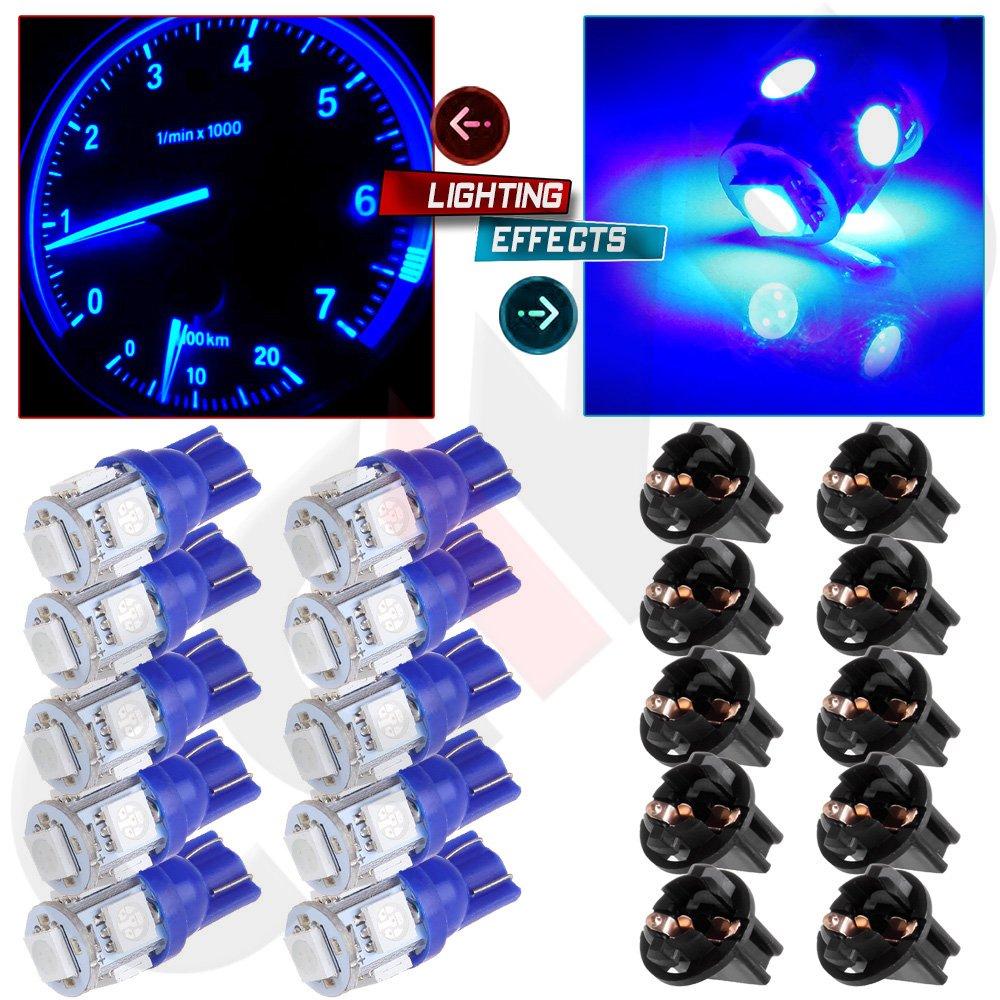 cciyu 10 Pack Blue T10 5-5050-SMD PC194 LED Bulb Instrument Panel Cluster Dash Light Twist Lock Socket Fit 2000-2002 Honda Accord by cciyu