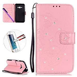 Galaxy J7 Case, J7 2015 Case, ISADENSER PU Leather Flip Wallet Case with Multiple Credit Card Holder Slots for Samsung Galaxy J7 2015 + 1pcs Tempered Glass Screen + 1pcs Stylus Pen (Diamonds Pink)