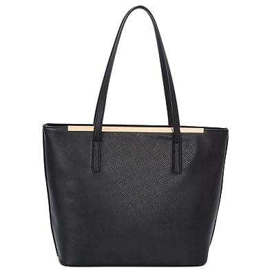 Amazon.com  Black Faux Leather Satchel Work Shopper Totes Bags Top Handle  Purse for Womens  Shoes ad4d64061c90b
