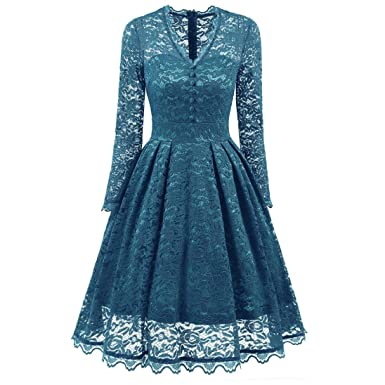 VENMO Ladies Lace Maxi Prom Dress With Long Sleeves V Neck Vintage Women Evening Formal Dress For Dinner: Amazon.co.uk: Clothing