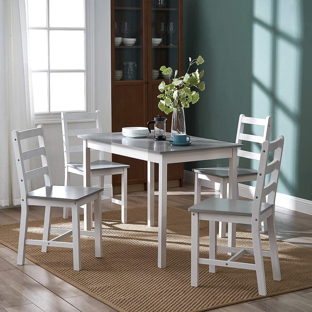 Panana Wooden Dining Table Set with 4 Chairs Contemporary Dining Furniture Three Color for Choice (Natural) Grey White