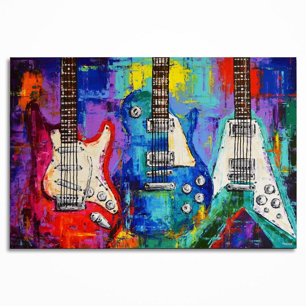 Amazon Com Guitar Painting Music Art Les Paul Guitar Art