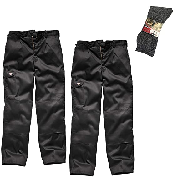 50d8b9982b92d6 Dickies Twin Pack Redhawk Super Work Trousers and Grey Boot Socks   Amazon.co.uk  Clothing