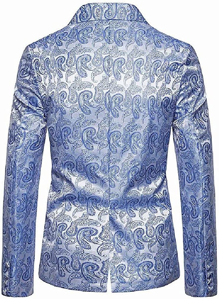 Sayah Mens 2 Button Nightclub Outerwear Blazer Outwear Performance Mesh Light Blue