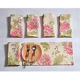 Swayam Libra Printed Cotton 6 Piece Dinner Napkin Set- Cream (TN16-3612)
