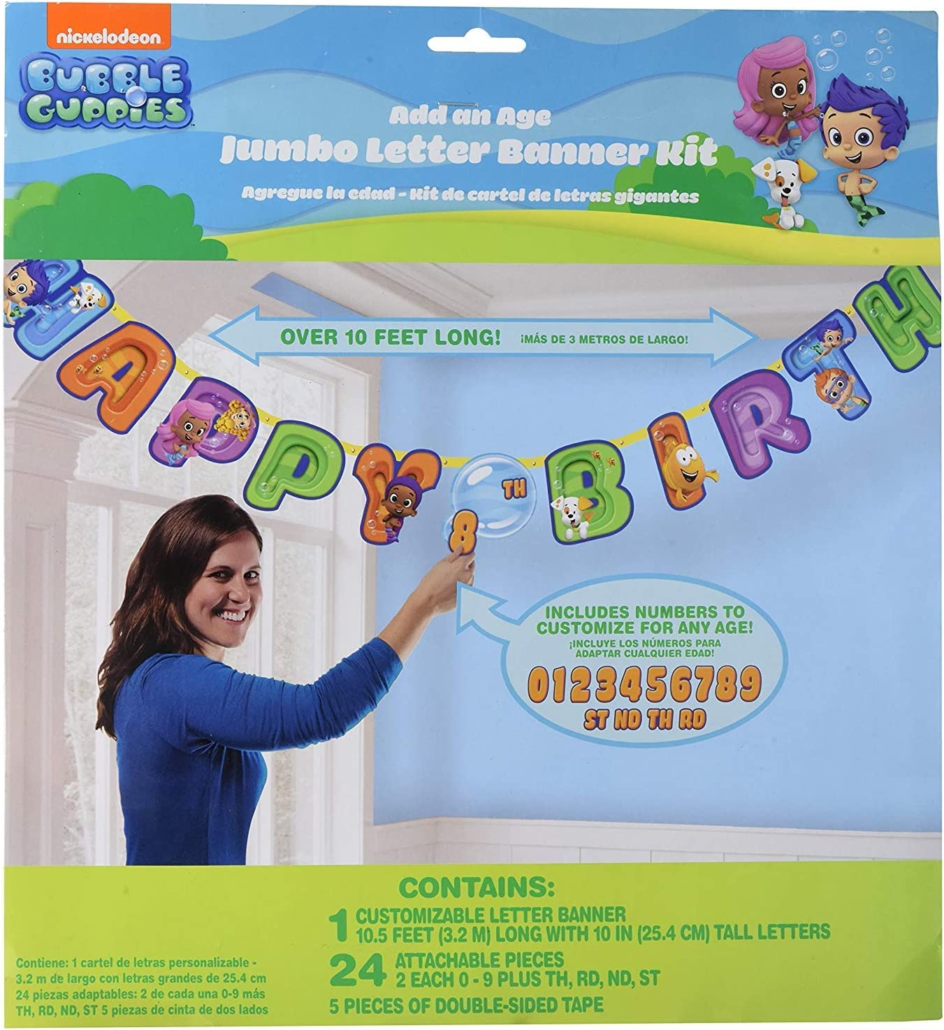 BUBBLE GUPPIES HAPPY BIRTHDAY party jumbo LETTER BANNER add an age CUSTOMIZE 10/'