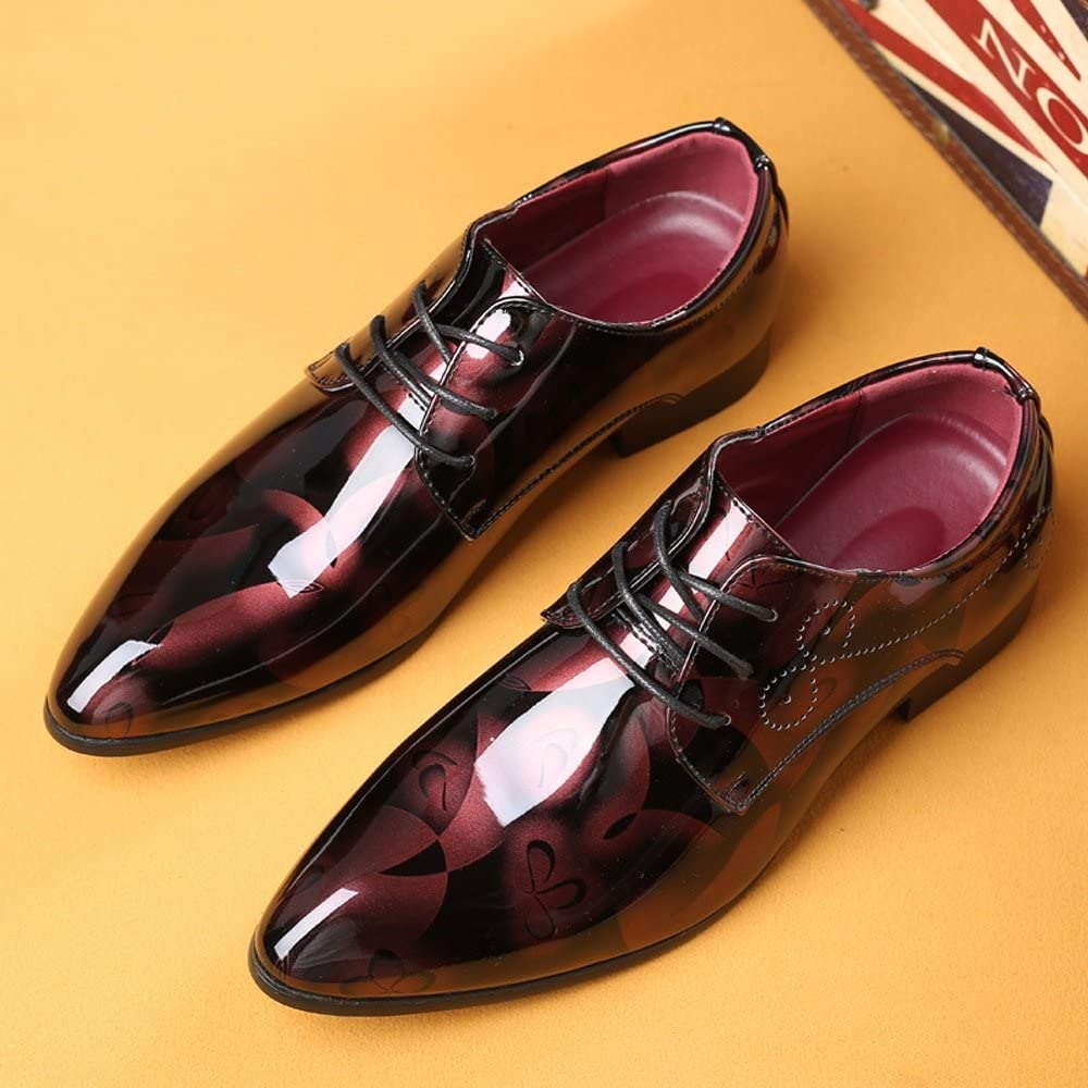 Douhuayu Mens Burnished Smooth Abstract Painting PU Leather Shoes Classic Lace Up Loafer