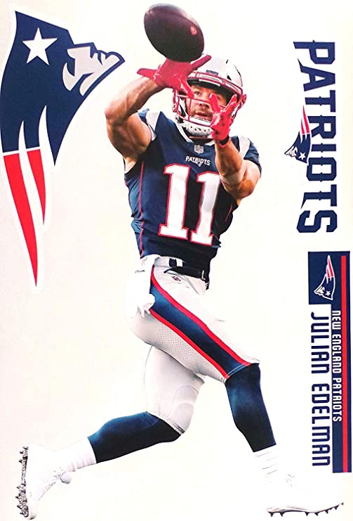 Julian Edelman Fathead New England Patriots Logo Set Official Nfl Vinyl Wall Graphics 17 Inch