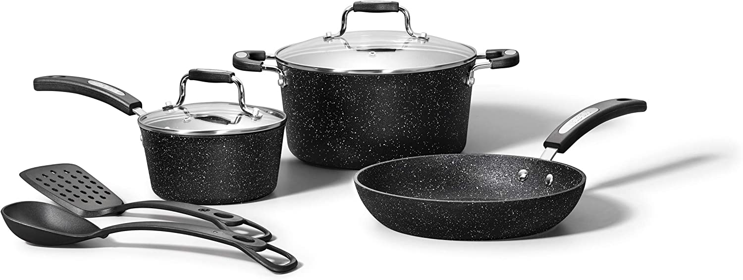 Starfrit The Rock Cookware Set, 7-Piece, Black