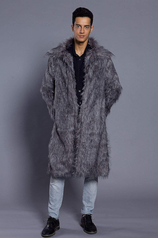 Manteau d'hiver Longue en Fourrure Veste De Fausse Casua Moderne Fourrure Mr Manteau De Fourrure Veste d'hiver À Longue Veste Manteau en Fausse Fourrure Outwear Dunkelgrau