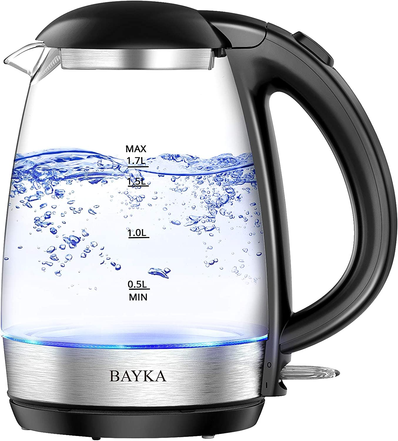 BAYKA Electric Kettle, 1.7L Glass Hot Water Boiler with Auto Shut-Off and Boil-Dry Protection, Cordless Coffee and Tea Kettle with LED Indicator Light