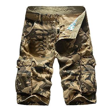 f462686e7f4a Ansenesna Shorts Herren Sommer Bermuda Baumwolle Camouflage Kurze Hose mit  Taschen Reisverschluss Cargo Knielang Freizeithose  Amazon.de  Bekleidung