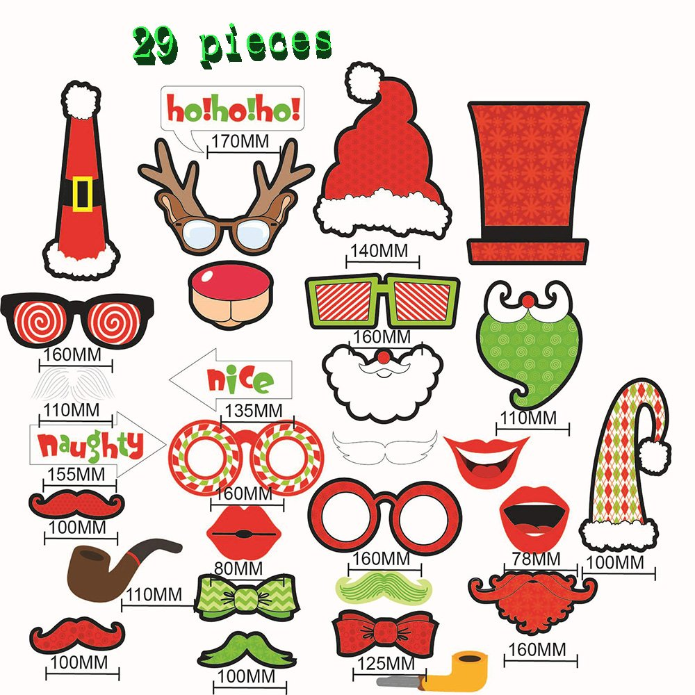Christmas Photo Booth Props DIY Holiday Kit Party Supplies Adding Unique Holiday Atmosphere (29)
