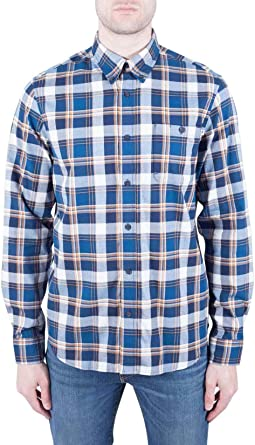 TIMBERLAND - Mens blue windowpane check shirt - Size S: Amazon.es: Ropa y accesorios