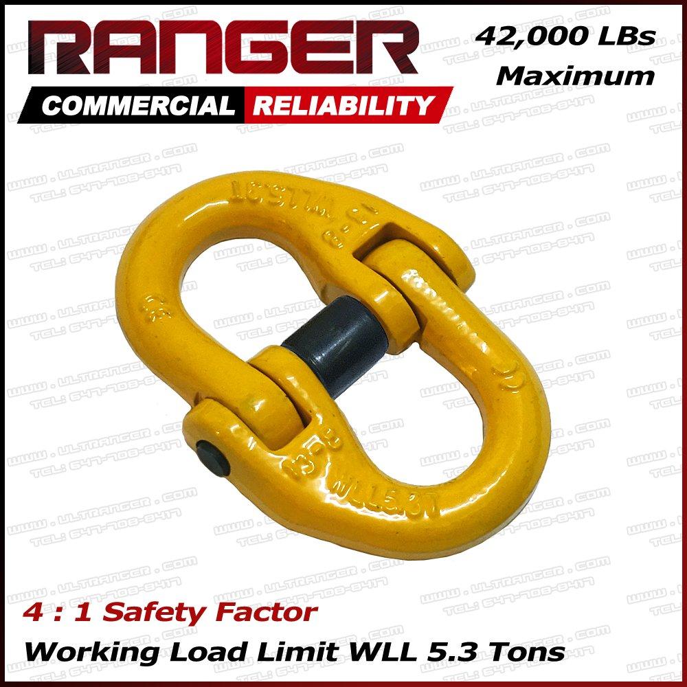 Ranger WLL 5.3 tons G80 Dual Hammerlok Hammer Lock Link Connectors for Hoist Sling Winch Tow Crane Lift by Ultranger (WLL 5.3 tons Break Point 42,000 lbs)
