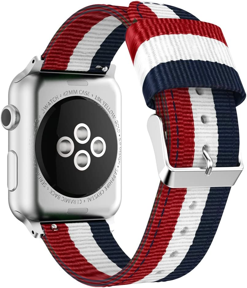HUANLONG Band Compatible with Apple Watch, Fine Woven Nylon Adjustable Replacement Band Sport Strap for Apple Watch (Blue/White/red 42mm)