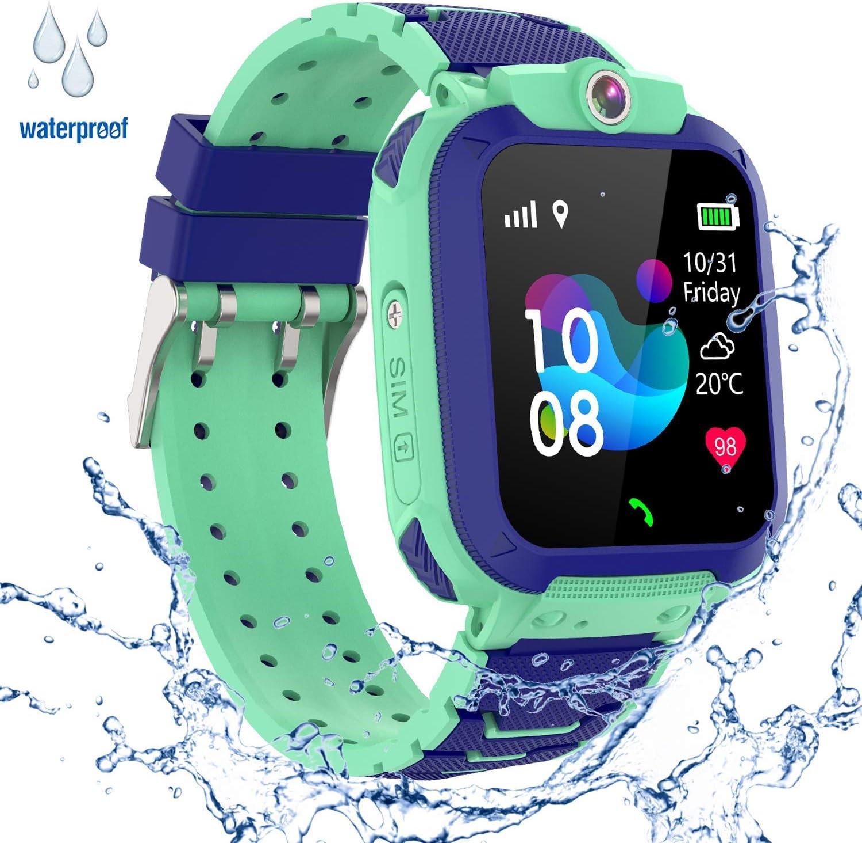 GPS Niños Impermeable Smartwatch, Reloj Inteligente Smart Watch Telefono con GPS Rastreador Conversación Bidireccional Llamada por Voz Chat SOS Cámara Despertador Juego para Niños Niña 3-12 Años,Azul